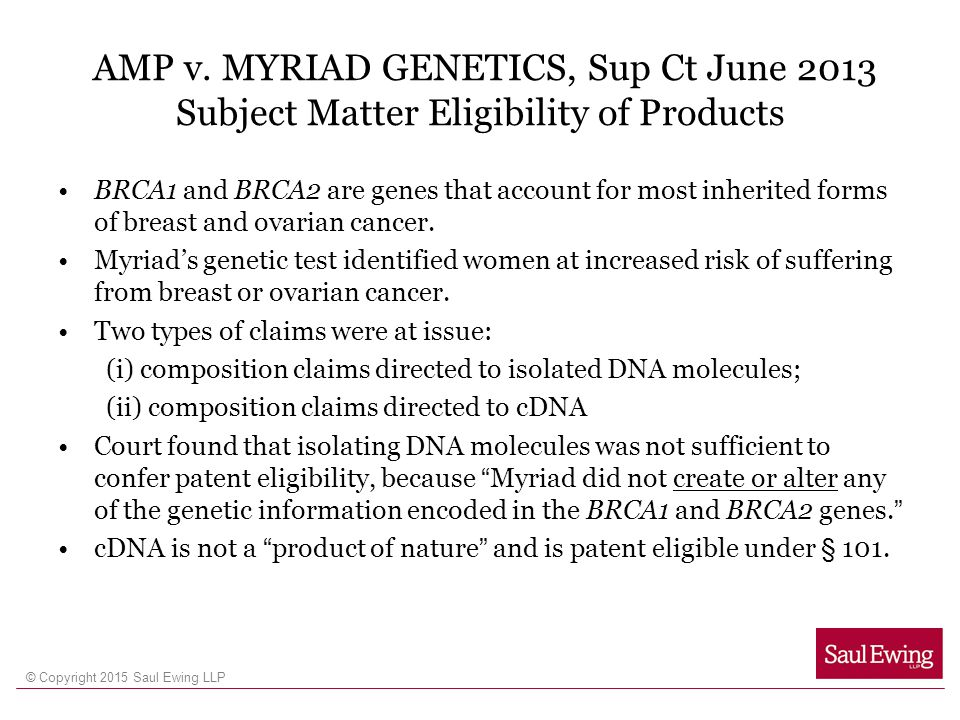 AMP v. MYRIAD GENETICS, Sup Ct June 2013 Subject Matter Eligibility of Products