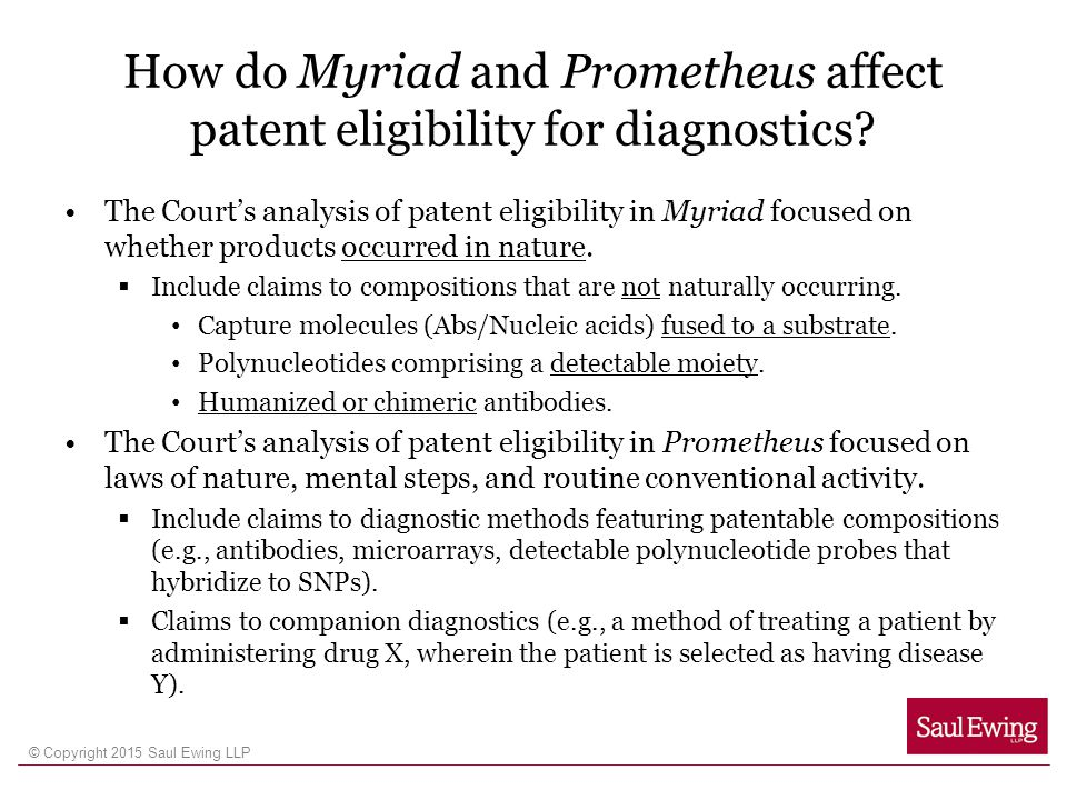 How do Myriad and Prometheus affect patent eligibility for diagnostics