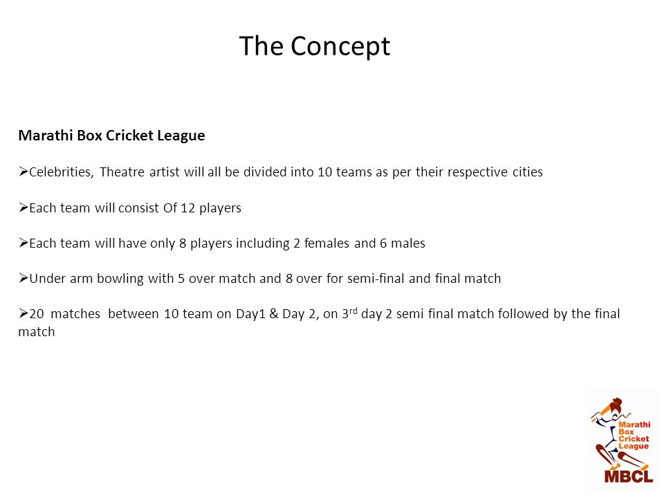 The Concept Marathi Box Cricket League