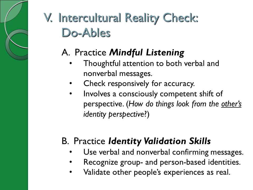 V. Intercultural Reality Check: Do-Ables