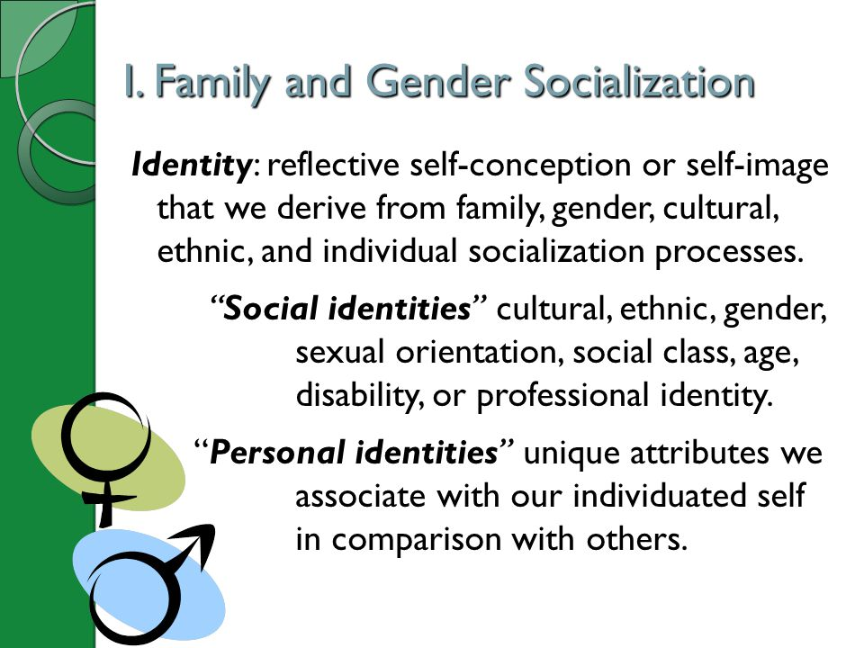 I. Family and Gender Socialization