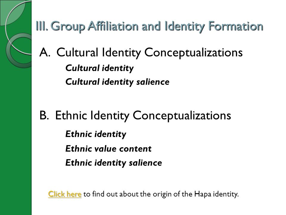 III. Group Affiliation and Identity Formation