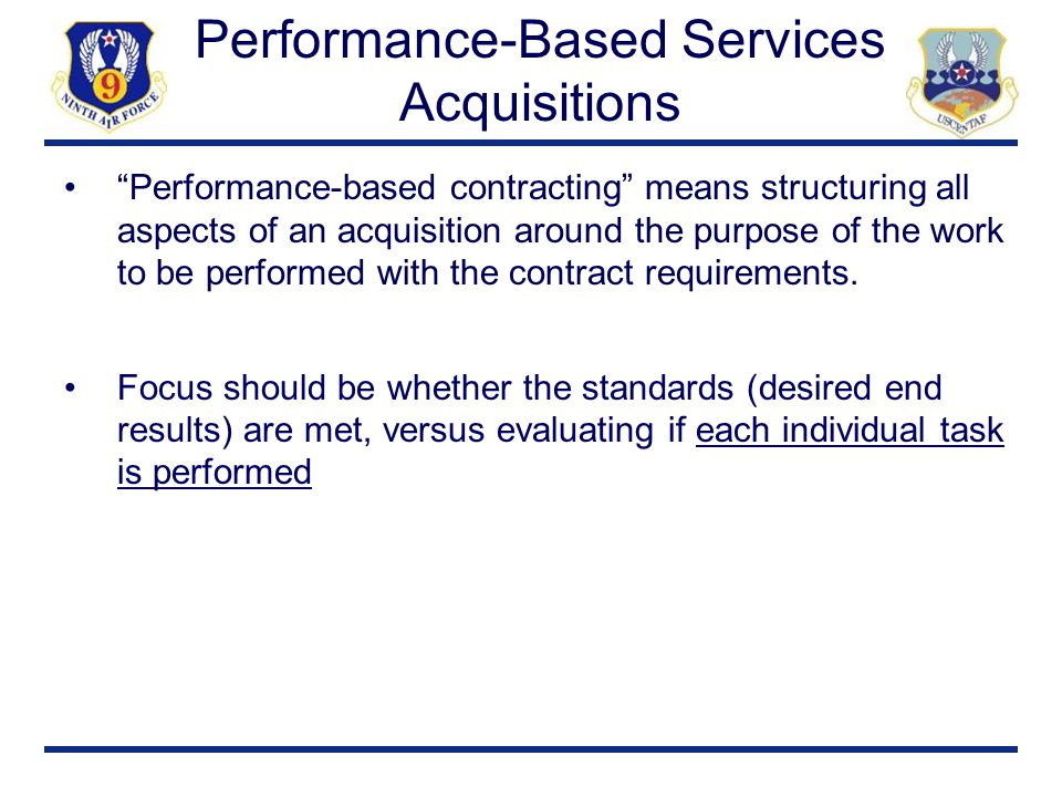 Performance-Based Services Acquisitions
