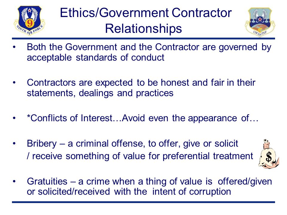 Ethics/Government Contractor Relationships
