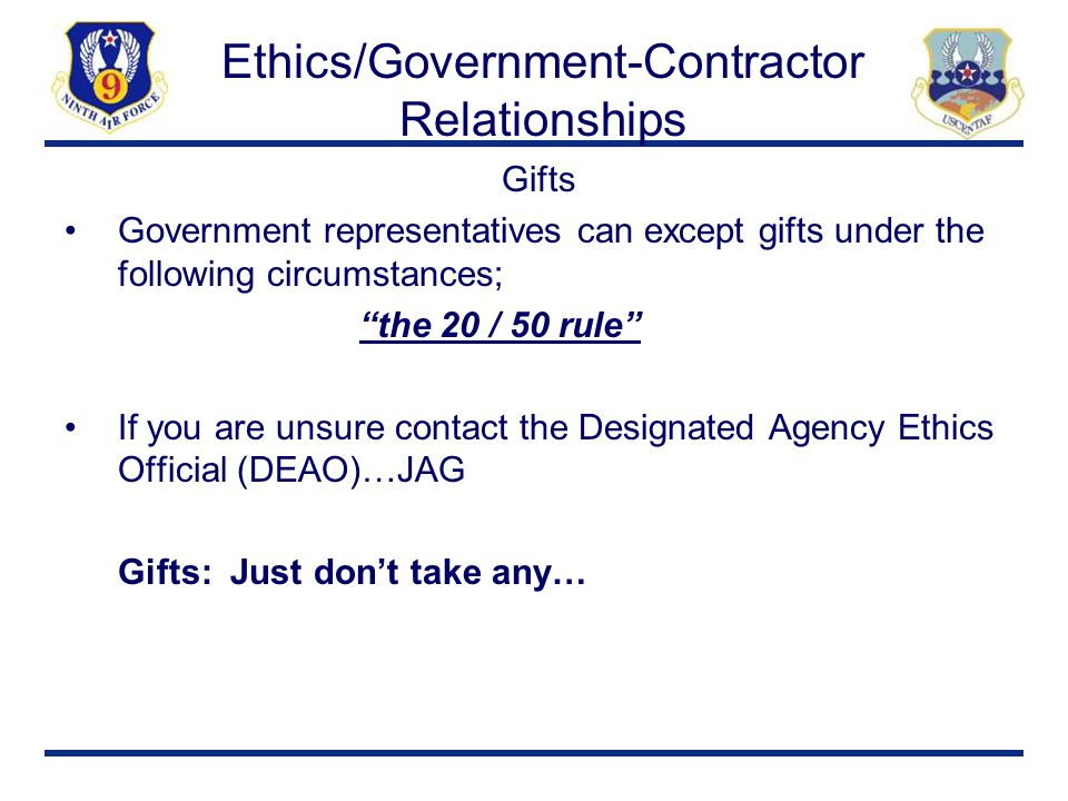 Ethics/Government-Contractor Relationships