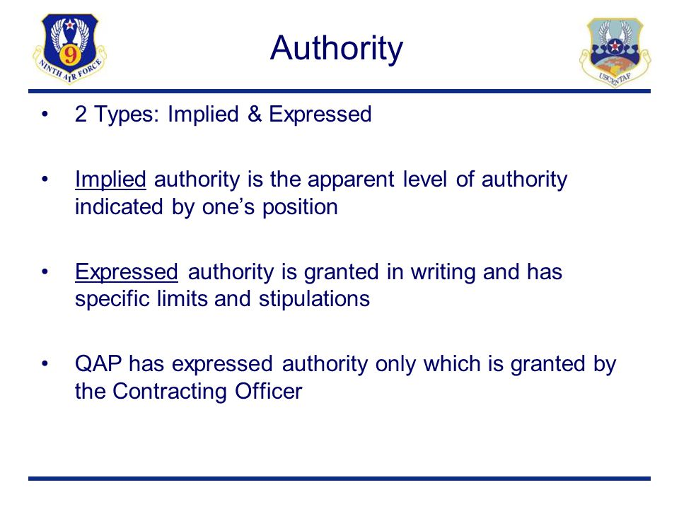 Authority 2 Types: Implied & Expressed