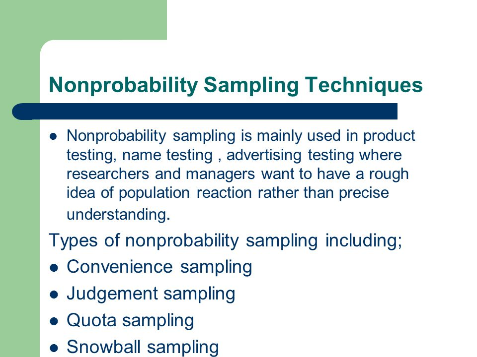 Nonprobability Sampling Techniques