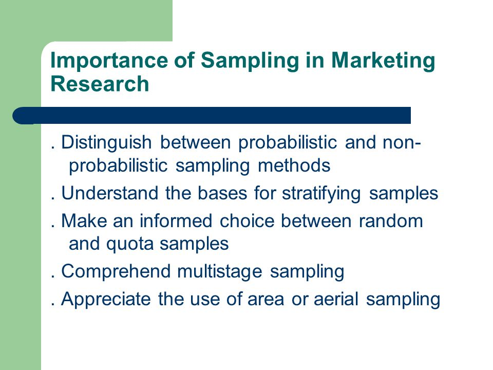 Importance of Sampling in Marketing Research