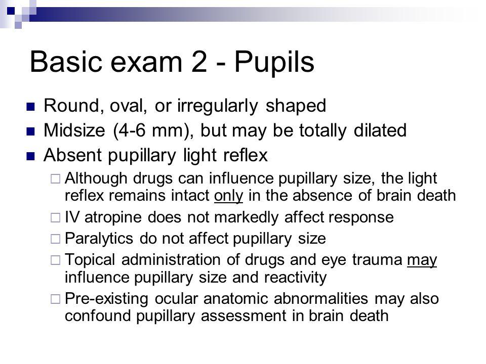 Basic exam 2 - Pupils Round, oval, or irregularly shaped