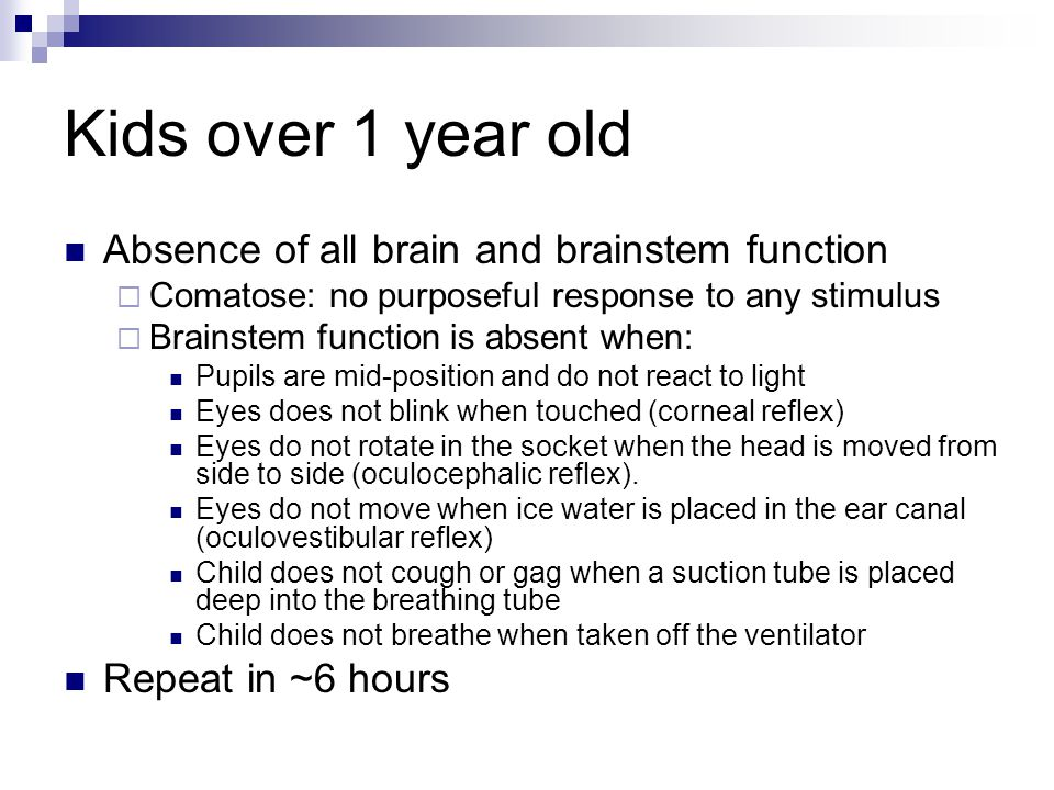 Kids over 1 year old Absence of all brain and brainstem function