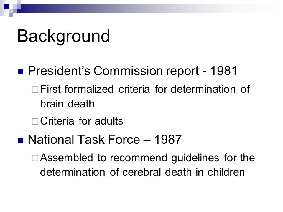 Background President's Commission report - 1981