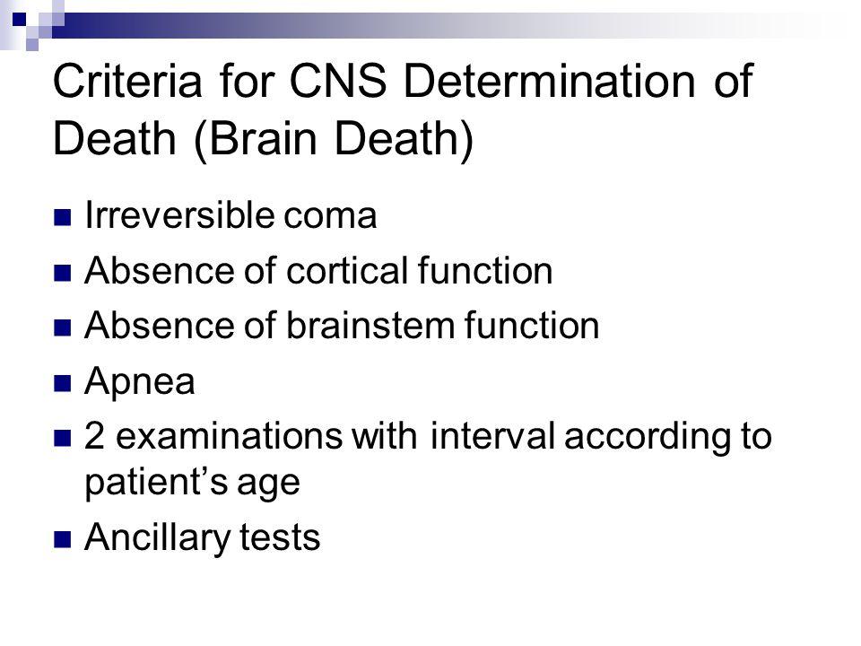 Criteria for CNS Determination of Death (Brain Death)