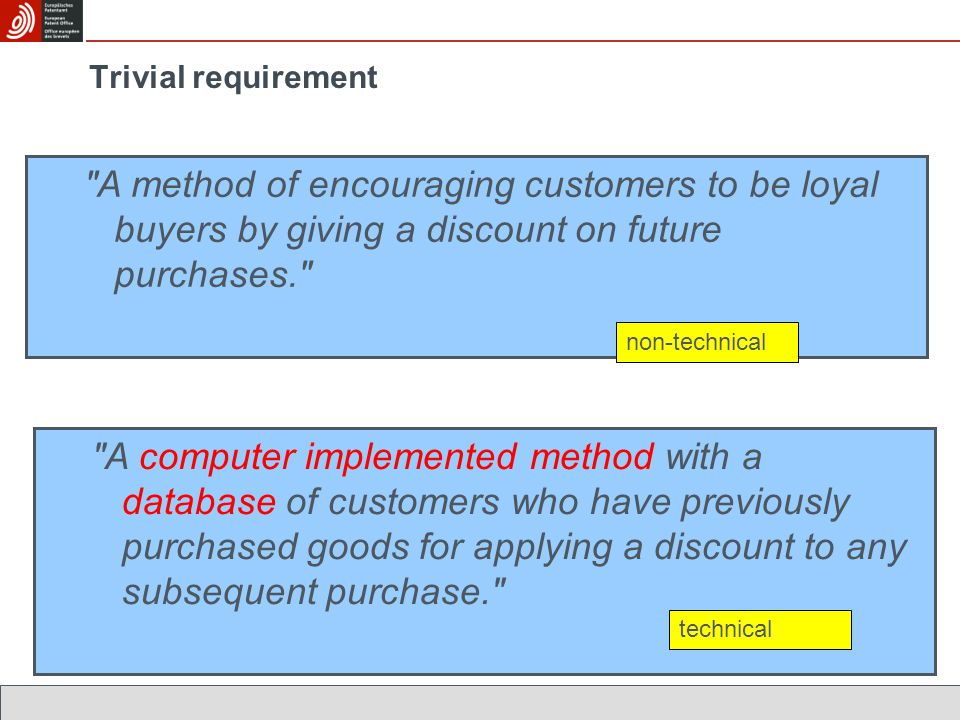 Trivial requirement A method of encouraging customers to be loyal buyers by giving a discount on future purchases.