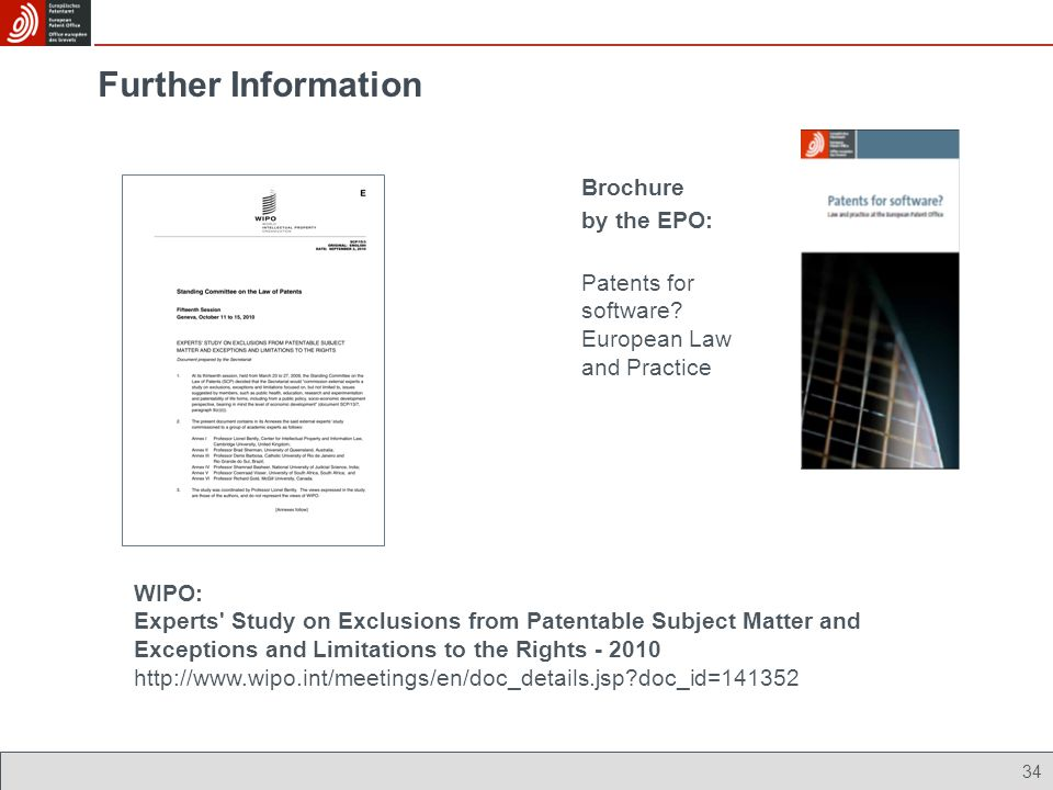 Further Information Brochure by the EPO: Patents for software