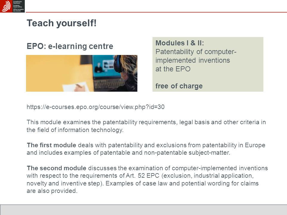 Teach yourself! EPO: e-learning centre