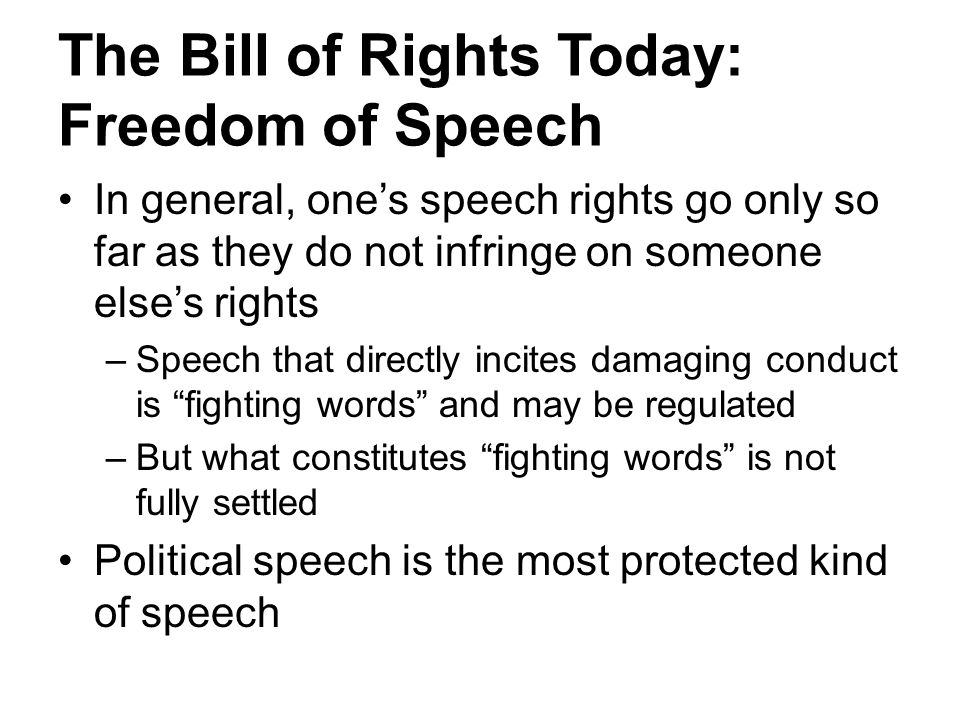 The Bill of Rights Today: Freedom of Speech