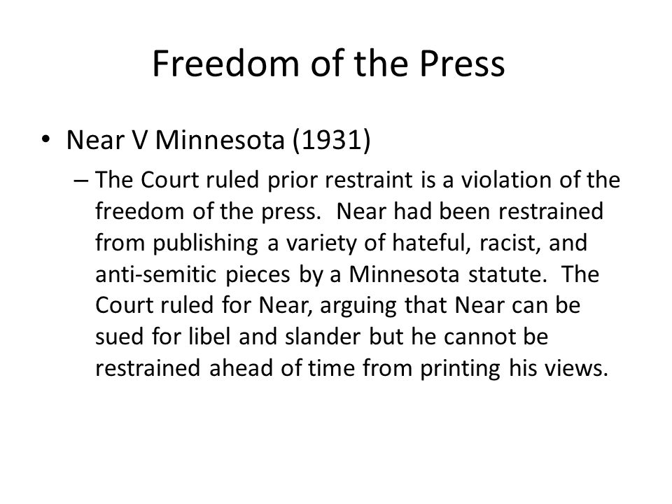 Freedom of the Press Near V Minnesota (1931)