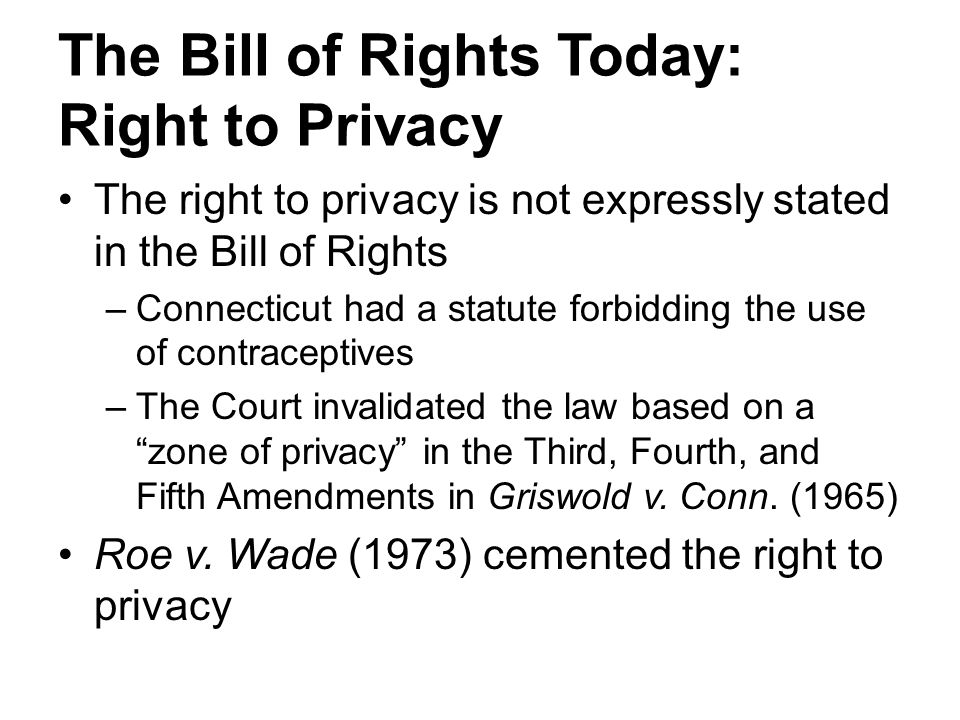 The Bill of Rights Today: Right to Privacy