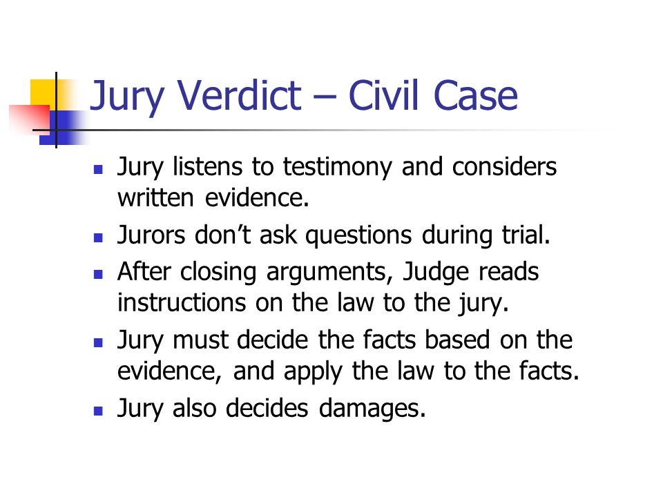 Jury Verdict – Civil Case