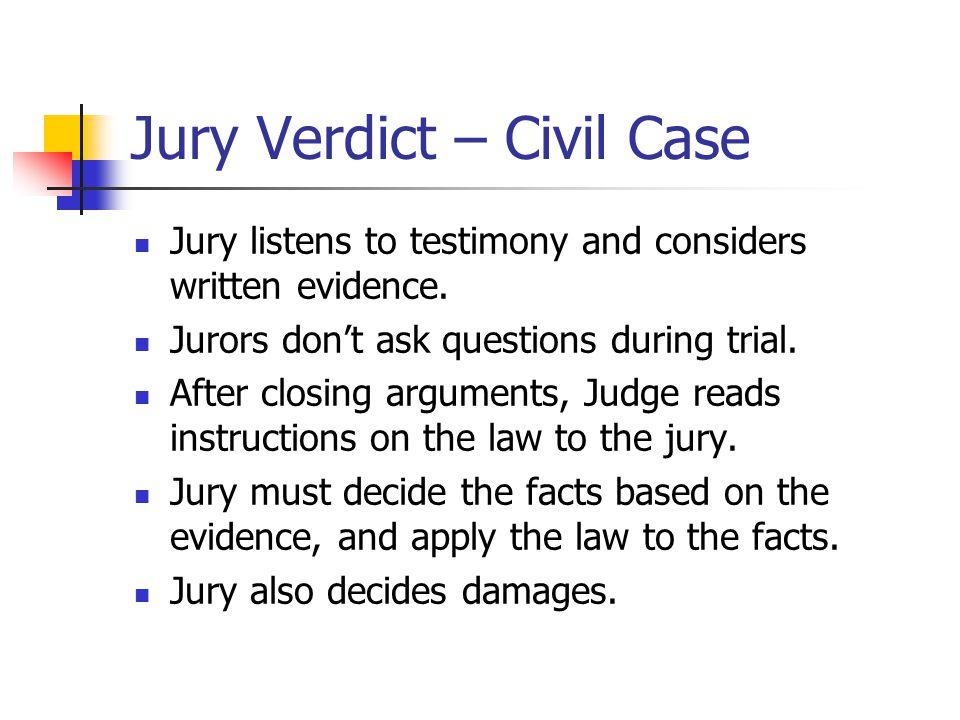 Jury Verdict – Civil Case
