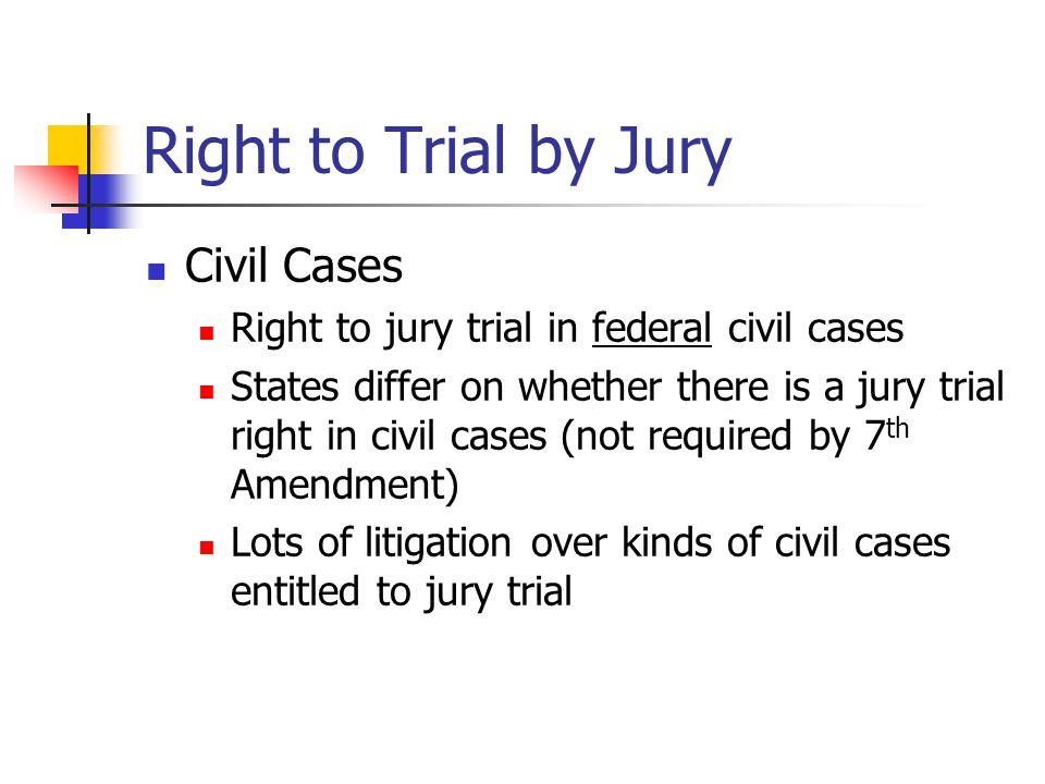Right to Trial by Jury Civil Cases