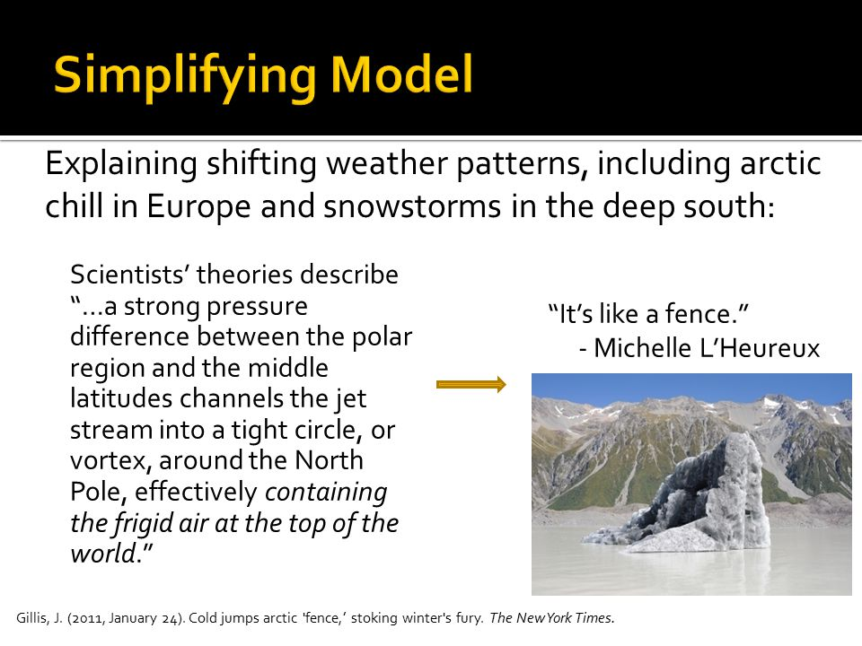 Simplifying Model Explaining shifting weather patterns, including arctic chill in Europe and snowstorms in the deep south: