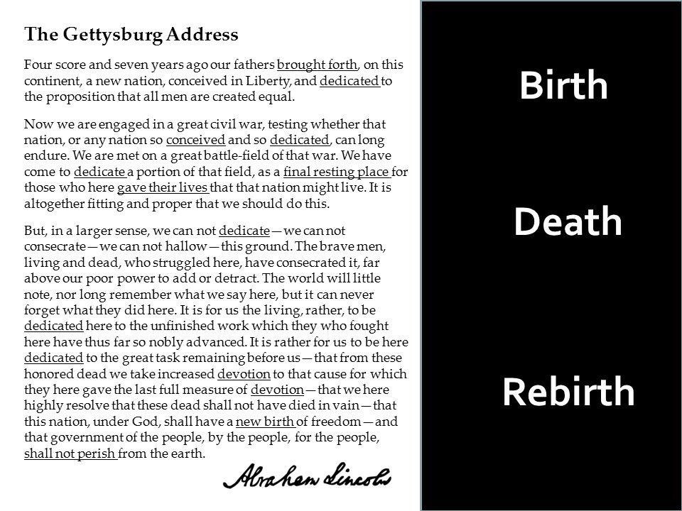 Birth Death Rebirth The Gettysburg Address