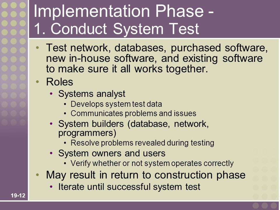 Implementation Phase - 1. Conduct System Test