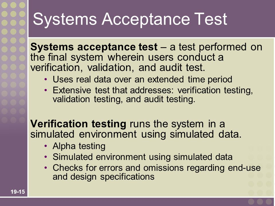 Systems Acceptance Test