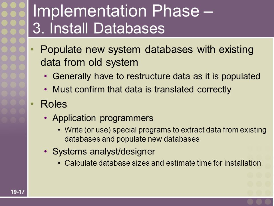 Implementation Phase – 3. Install Databases