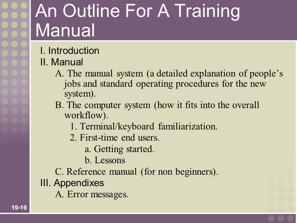An Outline For A Training Manual