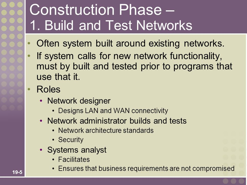 Construction Phase – 1. Build and Test Networks