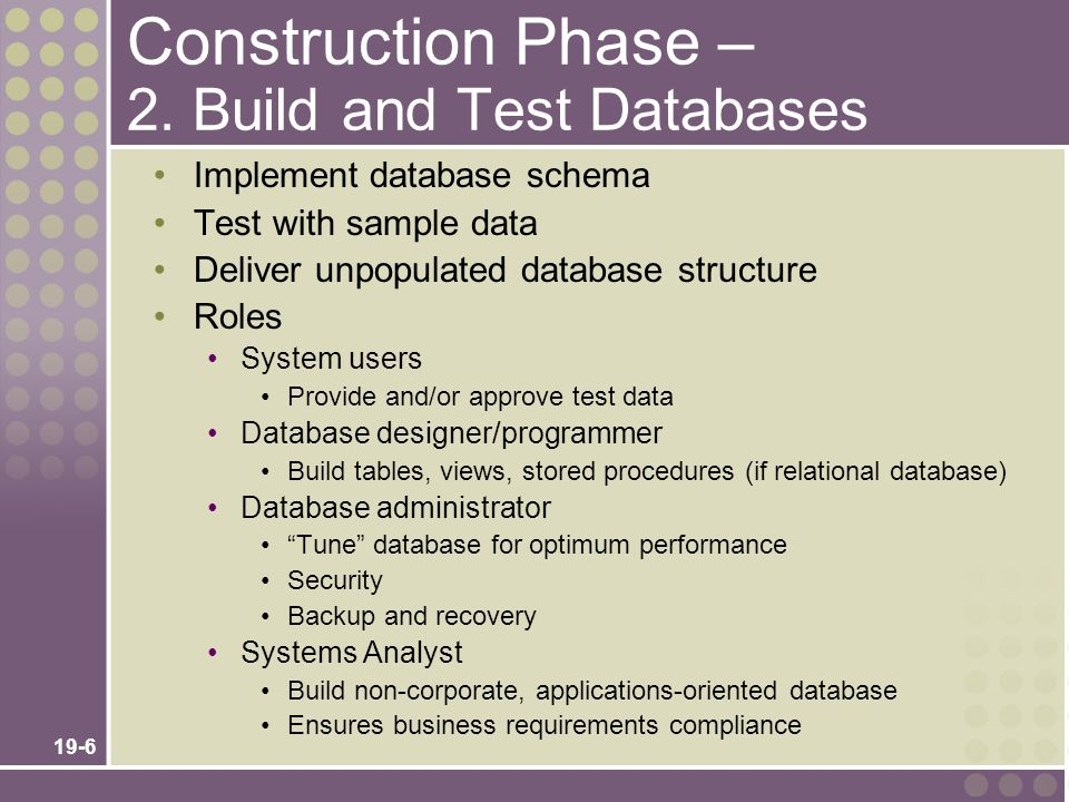 Construction Phase – 2. Build and Test Databases