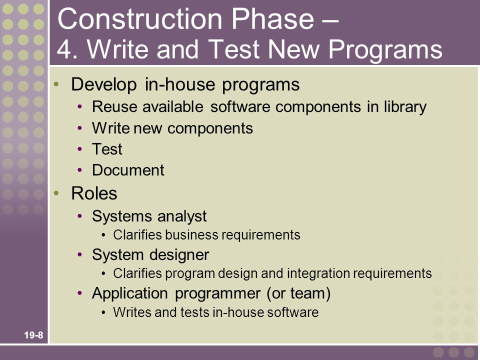 Construction Phase – 4. Write and Test New Programs