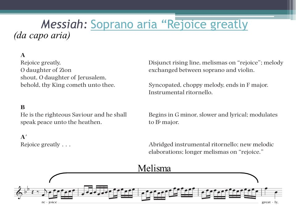 Messiah: Soprano aria Rejoice greatly