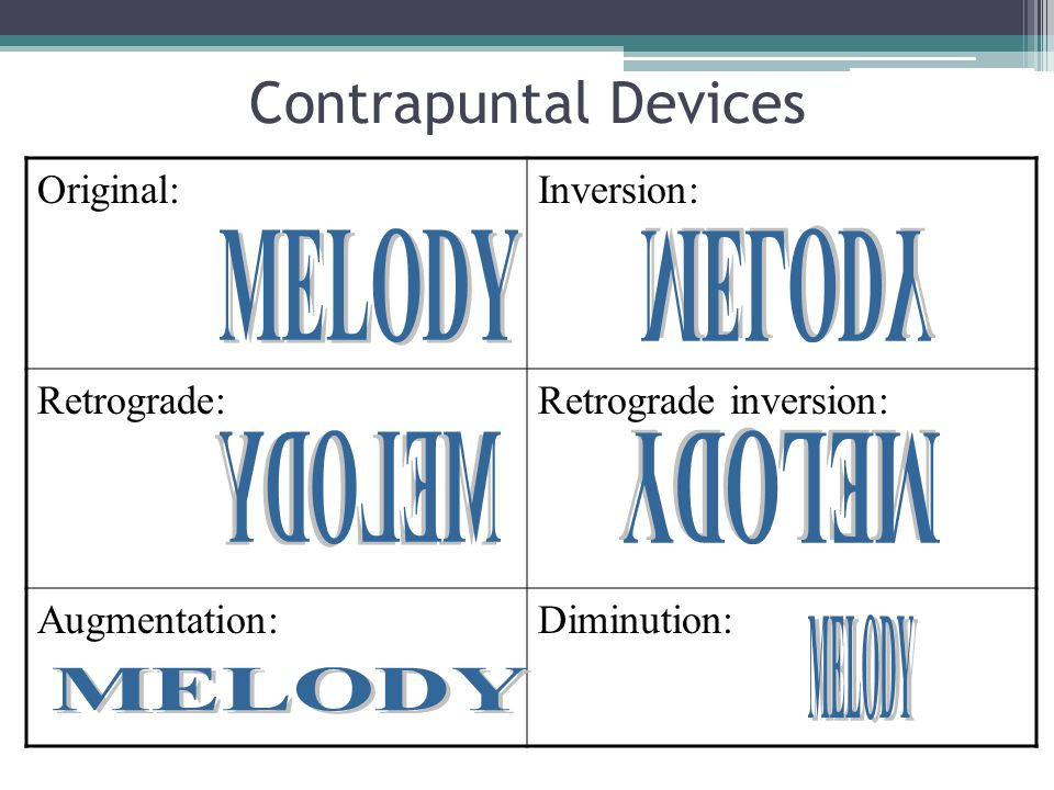 Contrapuntal Devices MELODY MELODY MELODY MELODY MELODY MELODY