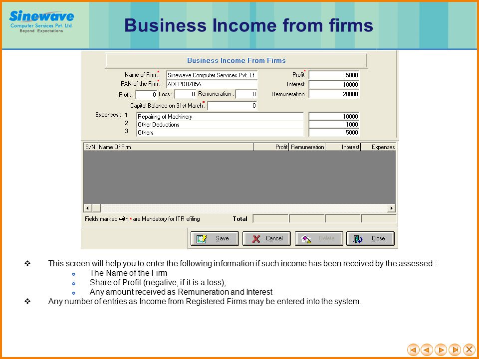 Business Income from firms