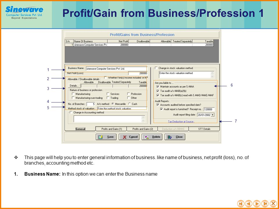 Profit/Gain from Business/Profession 1