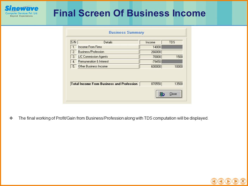 Final Screen Of Business Income