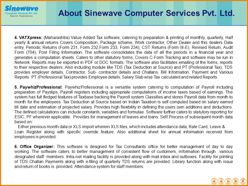 About Sinewave Computer Services Pvt. Ltd.