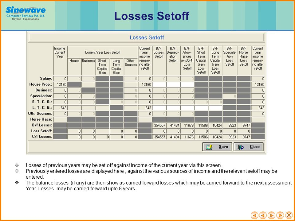 Losses Setoff Losses of previous years may be set off against income of the current year via this screen.