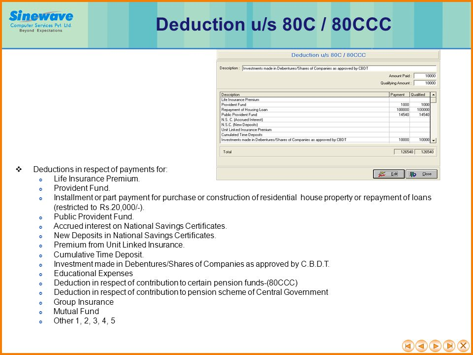 Deduction u/s 80C / 80CCC Deductions in respect of payments for: