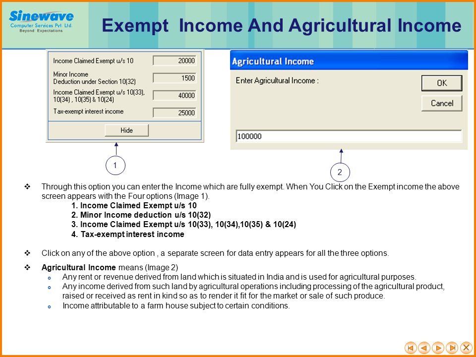 Exempt Income And Agricultural Income