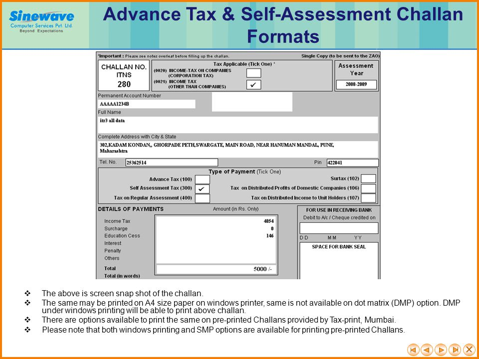 Advance Tax & Self-Assessment Challan Formats