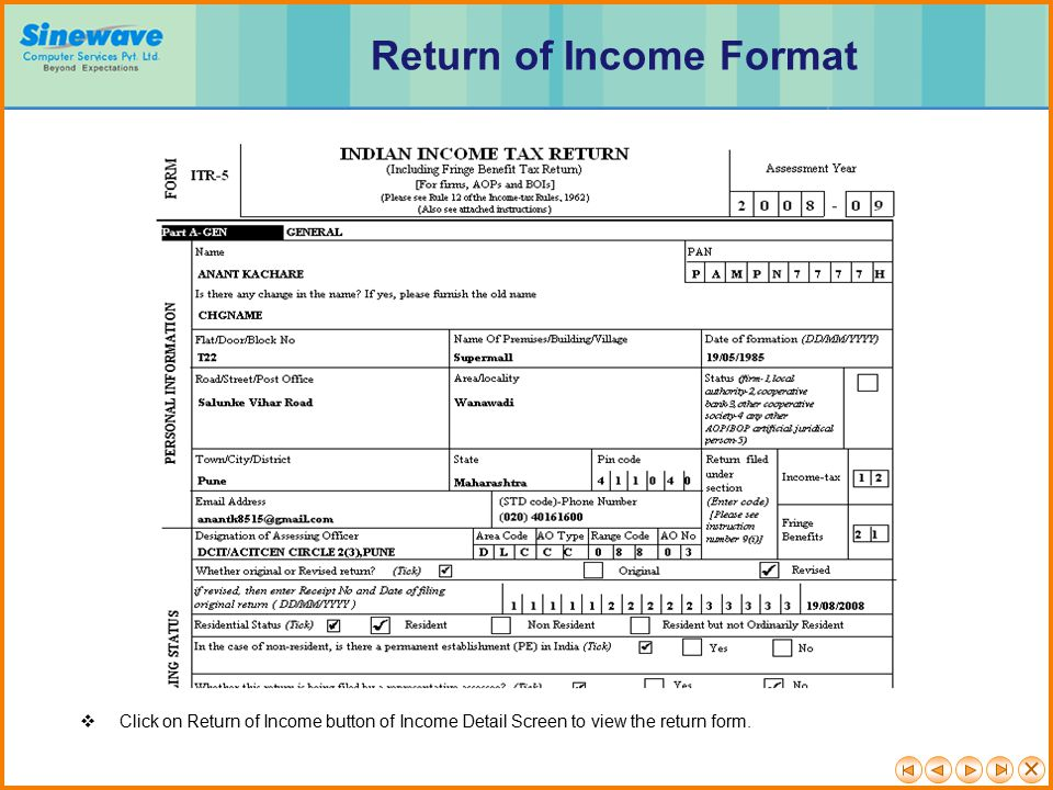 Return of Income Format