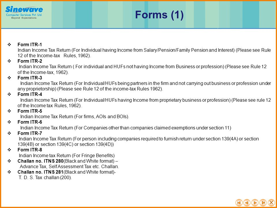 Forms (1) Form ITR-1.