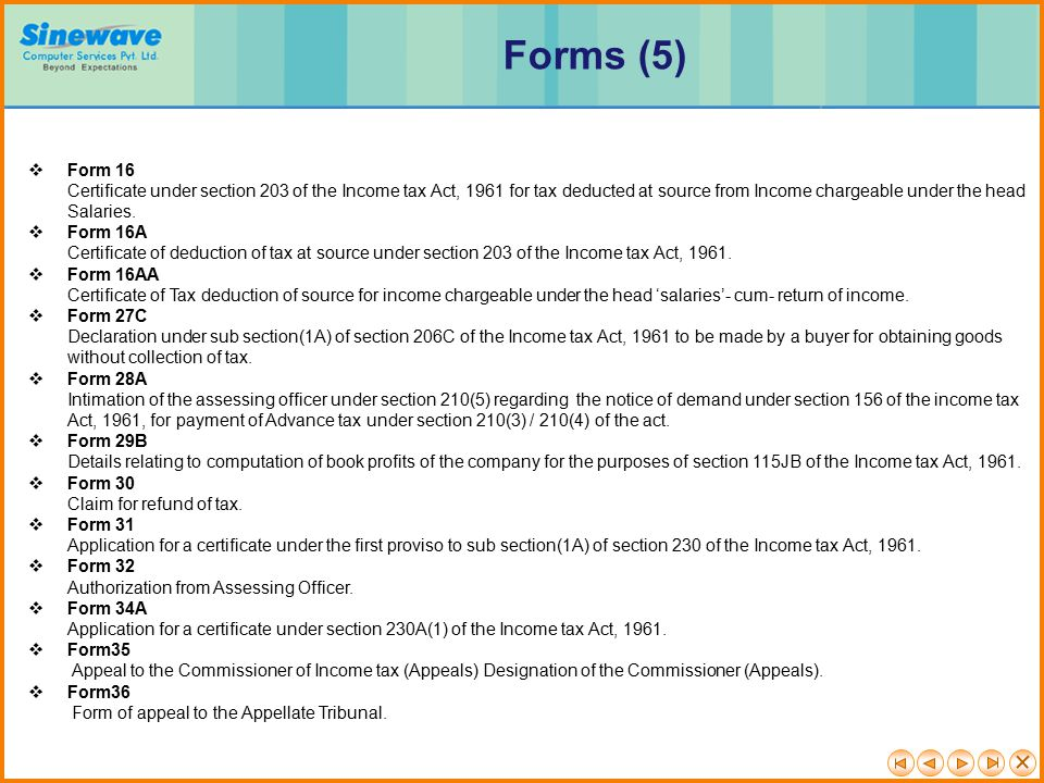 Forms (5) Form 16.