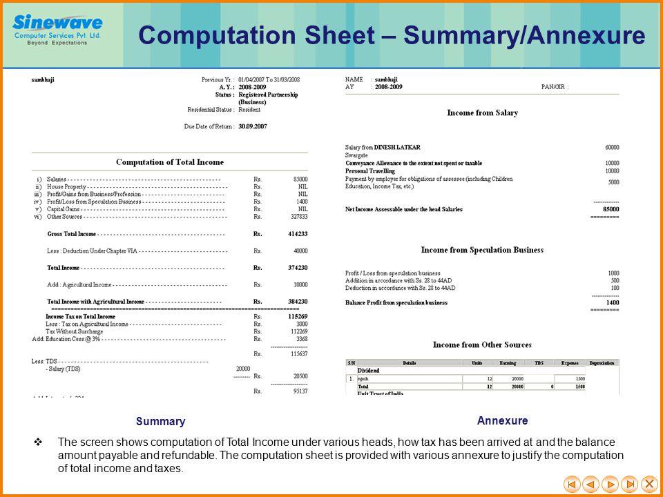 Computation Sheet – Summary/Annexure