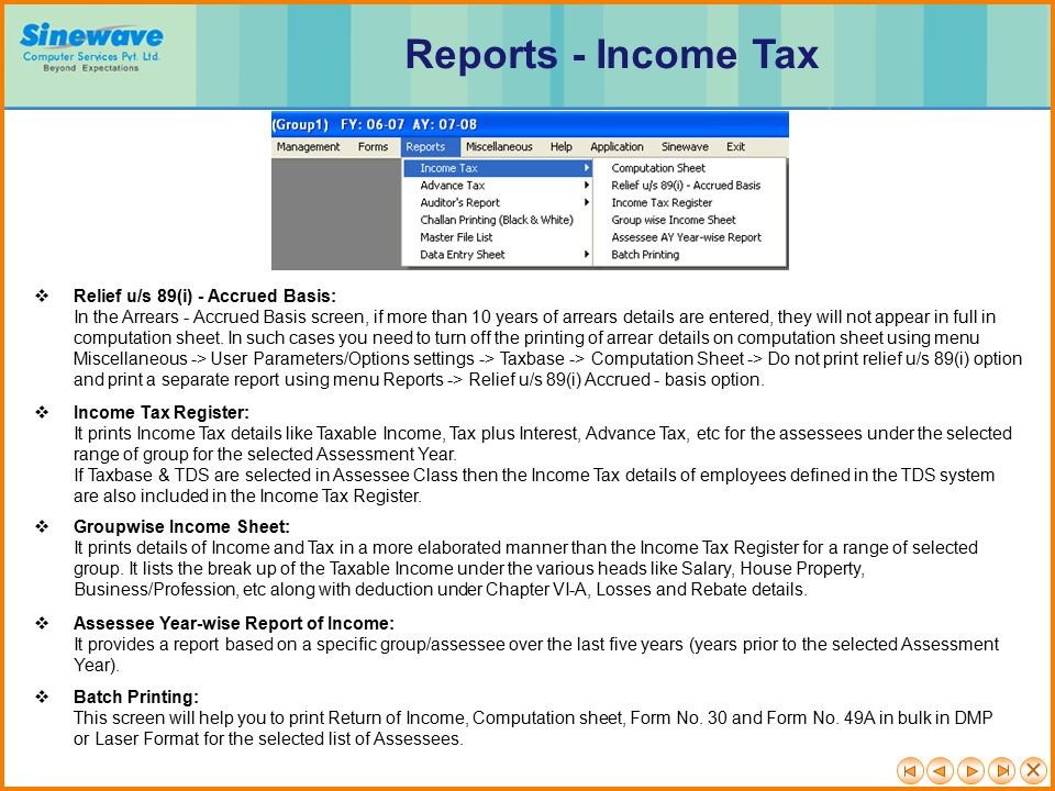 Reports - Income Tax Relief u/s 89(i) - Accrued Basis: