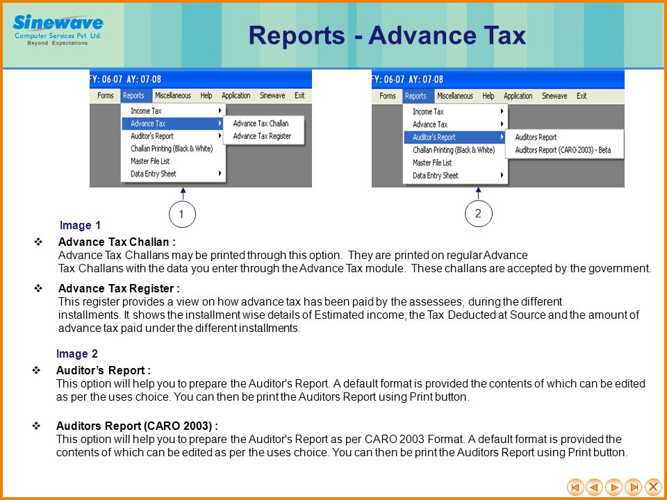 Reports - Advance Tax 1 2 Image 1 Advance Tax Challan :
